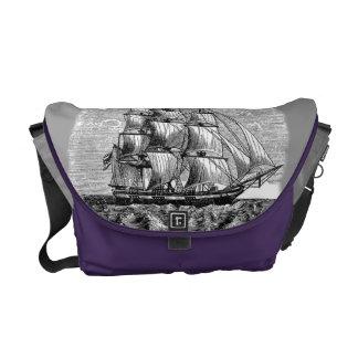 Frigate under sail messenger bag