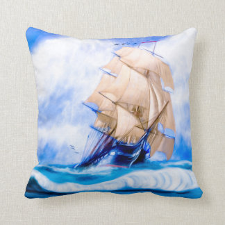 Frigate USS Constitution At Sail On The Open Sea Throw Pillow