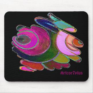 Frigga Pink Blue Spirals on Black Mousepad
