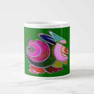 Frigga Pink Blue Spirals on Green Jumbo Mug 20 Oz Large Ceramic Coffee Mug