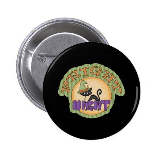 Fright Night Black Cat Cute Halloween Pinback Buttons