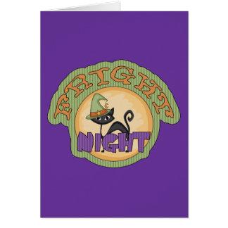 Fright Night Black Cat Cute Halloween Greeting Cards