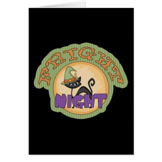Fright Night Black Cat Cute Halloween Greeting Card