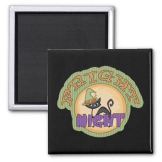 Fright Night Black Cat Cute Halloween Magnets
