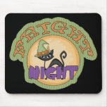 Fright Night Black Cat Cute Halloween Mouse Pad
