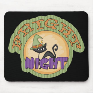 Fright Night Black Cat Cute Halloween Mouse Pad