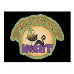 Fright Night Black Cat Cute Halloween Post Card