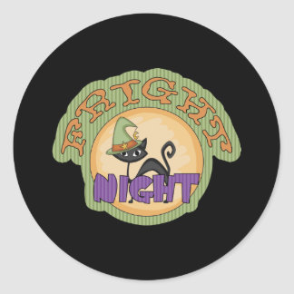 Fright Night Black Cat Cute Halloween Round Sticker