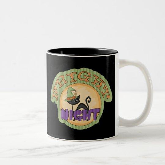 Fright Night Black Cat Cute Halloween Two-Tone Coffee Mug