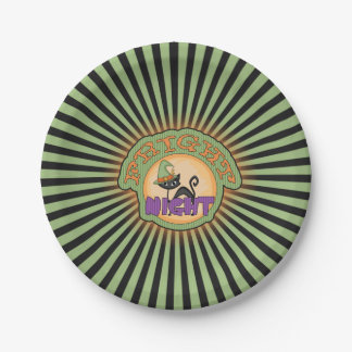 Fright Night Cat Radiant Stripes Paper Plate