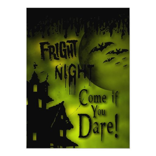 FRIGHT NIGHT HALLOWEEN PARTY - Haunted House 5.5x7.5 Paper Invitation Card