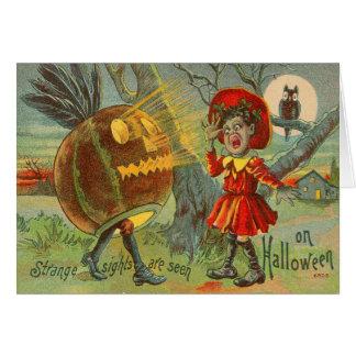 Frightened Child Owl Full Moon Jack O' Lantern Card