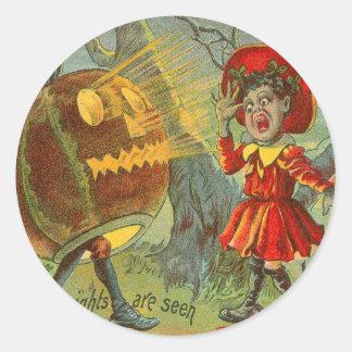 Frightened Child Owl Full Moon Jack O' Lantern Classic Round Sticker