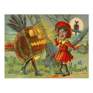 Frightened Child Owl Full Moon Jack O' Lantern Postcard