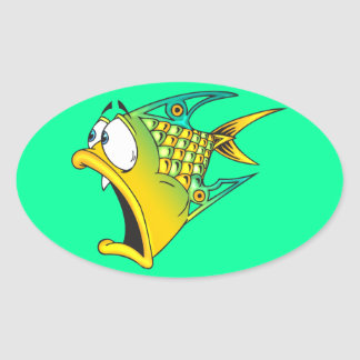 Frightened Fish Oval Sticker