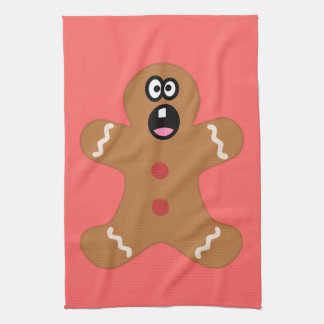 Frightened Gingerbread Man Cookie Kitchen Towel