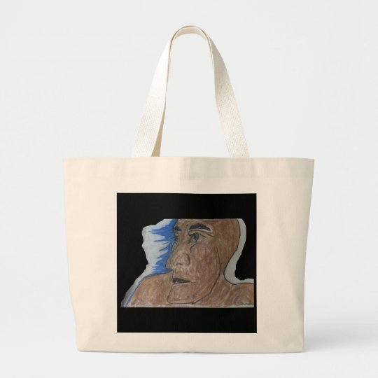 Frightened man large tote bag