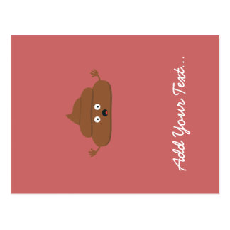 Frightened poo postcard