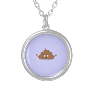 Frightened poo round pendant necklace
