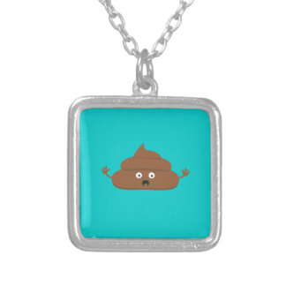 Frightened poo square pendant necklace