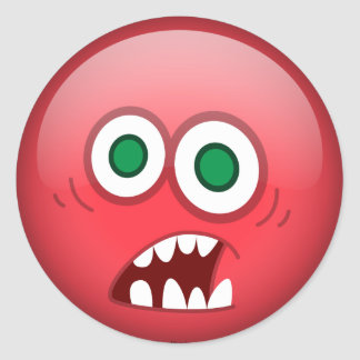 Frightened Red Classic Round Sticker