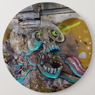 Frightened Skull Pinback Button