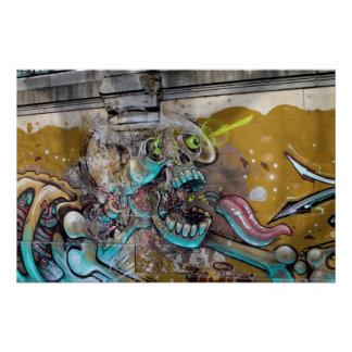 Frightened Skull Poster