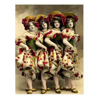 Frightening Cancan Dancers Postcard