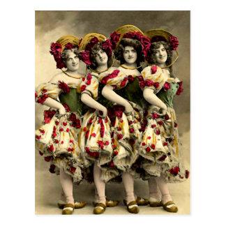 Frightening Cancan Dancers Postcard