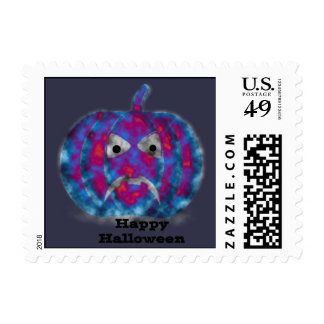 Frightening Halloween Pumpkin Face Postage