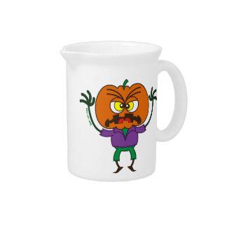 Frightening Halloween Scarecrow Emoticon Beverage Pitcher