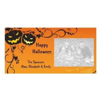 Frightening Pumpkins Halloween Photo Card