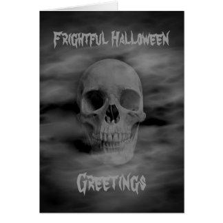 Frightful Halloween greetings ghostly skull Greeting Card