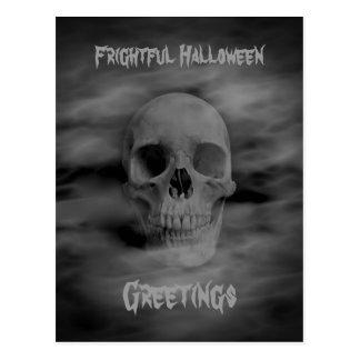Frightful Halloween greetings ghostly skull Postcard