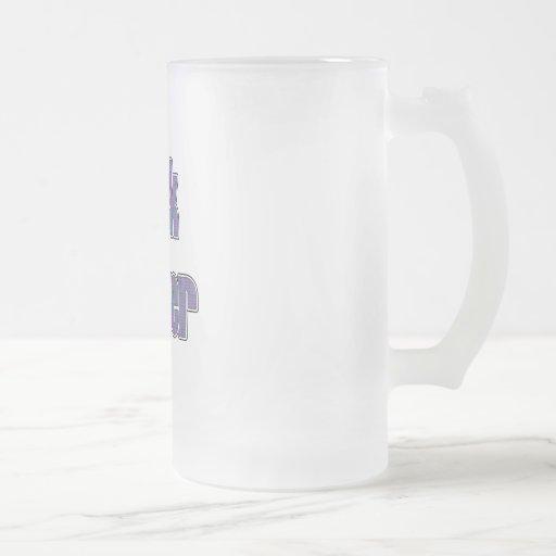 Friki 4ever de la tela escocesa del rojo azul taza cristal mate
