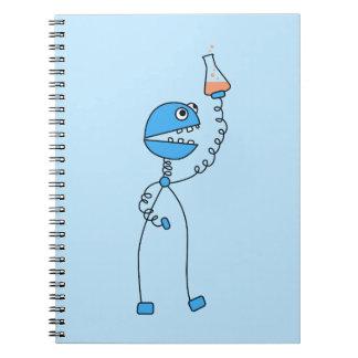 Friki azul de la química del robot del dibujo anim cuaderno