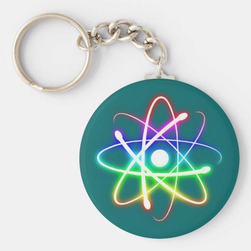 Friki colorido del átomo que brilla intensamente llavero redondo tipo pin