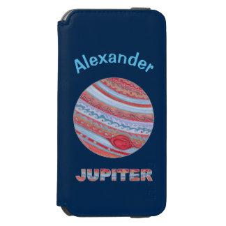 Friki colorido del espacio de Júpiter del planeta Funda Cartera Para iPhone 6 Watson