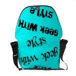 Friki con el texto del estilo azul claro bolsa de mensajeria