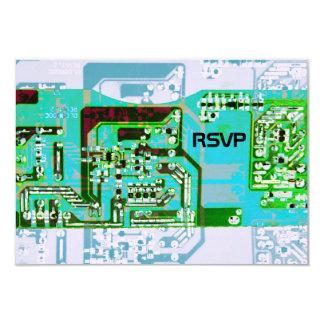 """Friki de alta tecnología que casa la tarjeta de invitación 3.5"""" x 5"""""""