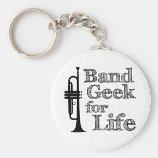 Friki de la banda de la trompeta llavero redondo tipo pin