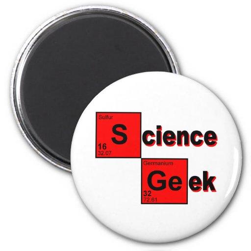 Friki de la ciencia imán redondo 5 cm