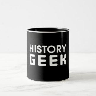 Friki de la historia taza de café de dos colores