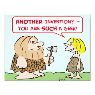 """friki de la invención del hombre de las cavernas invitación 4.25"""" x 5.5"""""""