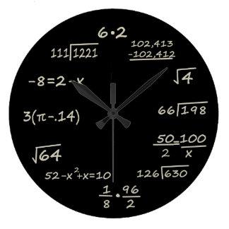 Friki de la matemáticas reloj redondo grande