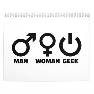 Friki de la mujer del hombre calendarios