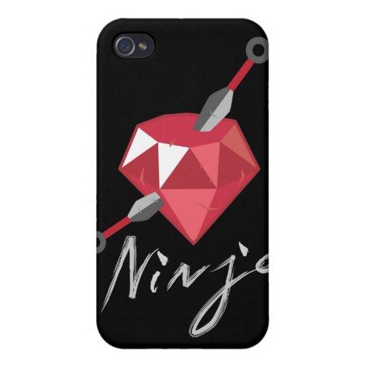 Friki de rubíes de la piedra preciosa de Ninja iPhone 4/4S Carcasa