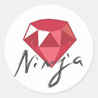 Friki de rubíes de la piedra preciosa de Ninja Pegatinas Redondas