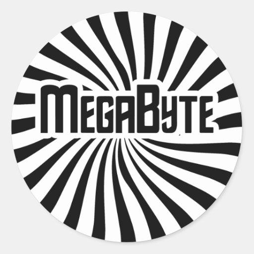 Friki del megabyte etiquetas redondas