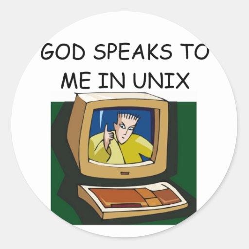 friki del ordenador de unix pegatinas redondas